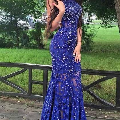 Backless Lace Prom Dresses,Mermaid ..