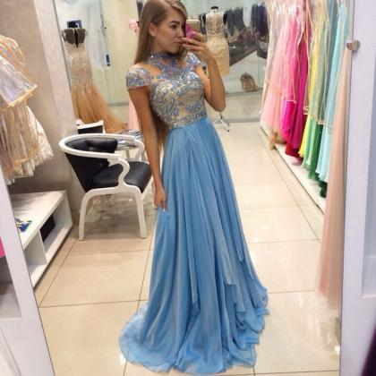 Sparkly Long Chiffon Prom Dresses,L..