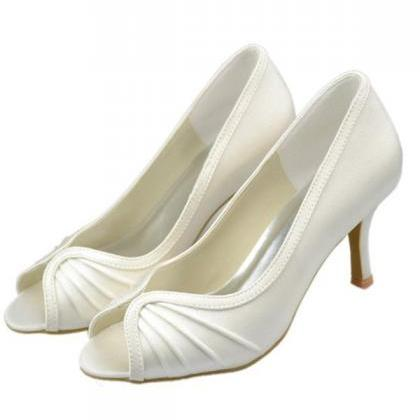 Simple Cheap Satin Shoes,Peep Toe S..