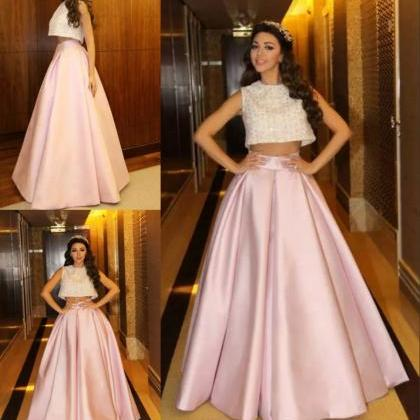 A-line Pink Satin Prom Dresses For ..