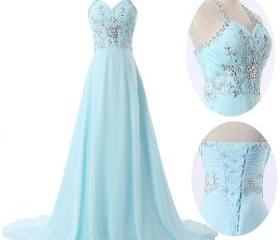 Custom Made Light Blue Chiffon Floor Length Prom Dresses 2015, New Style Prom Dresses 2015, Evening Gown, Prom Gown, Bridesmaid Dresses,Beads Prom Dresses