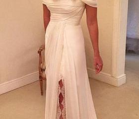 Off shoulder ivory lace chiffon long wedding dresses beach for Cheap wedding dresses in ct
