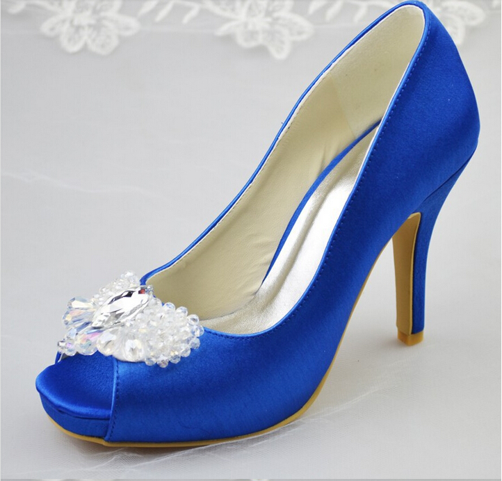 New Arrival Royal Blue Satin Women Pumps Low Heel Closed Pointed