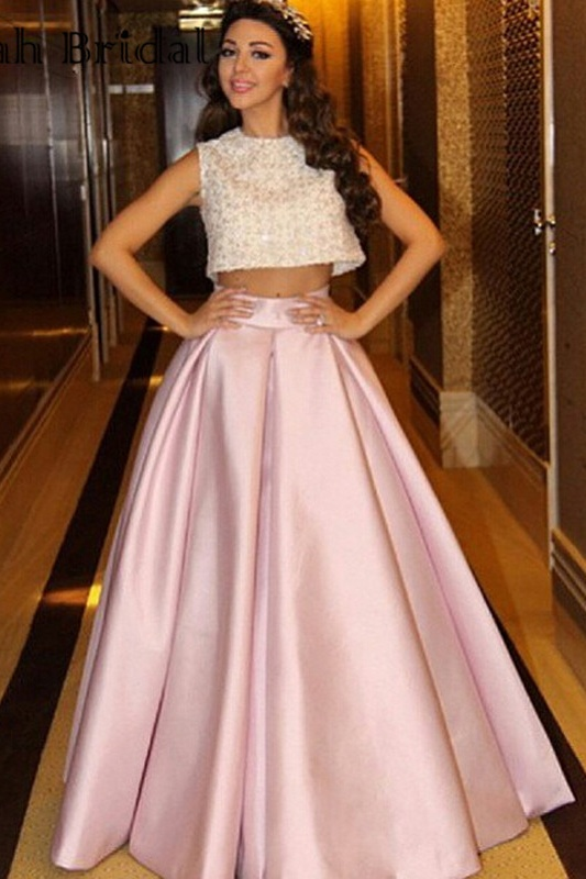 A-line Pink Satin Prom Dresses For Teens,Two Pieces Prom Gowns,Modest Evening Dresses,Handmade Girly Dresses For Teens