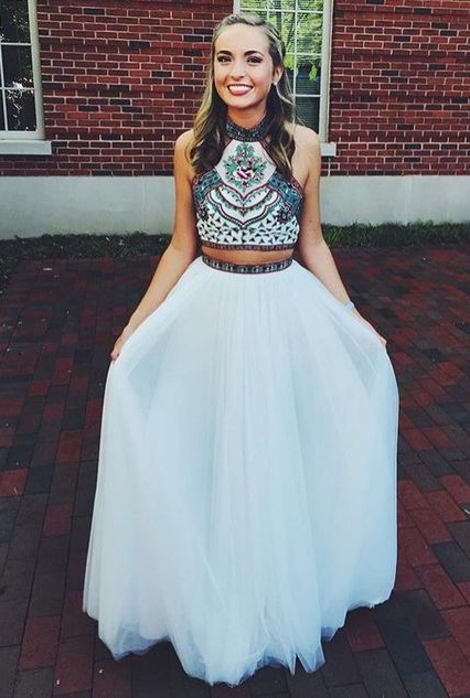 White Two Pieces Prom Dresses,Pretty Prom Dresses For Teens,Newest Prom Gowns,Evening Dresses,Two Pieces Party Dresses