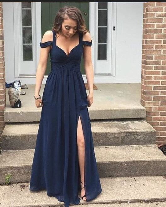 Simple Cheap Long Navy Blue Chiffon Prom Dresses For Teens,Prom Dresses 2017,Plus Size Prom Dresses