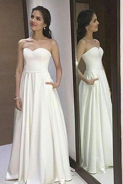 Strapless White Prom Dress,Long Prom Dress,Simple Prom Dress,Evening Dresses,A-line Prom Dress,Elegant Prom Gowns,Prom Dresses For Teens,Cute Dresses,Ivory Prom Dresses,Cheap Prom Dresses DR0081