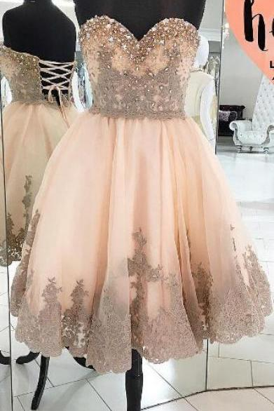Modest Homecoming Dresses,Gorgeous Homecoming Dresses,Sweetheart Homecoming Dress,Lace Up Homecoming Dress,Elegant Cocktail Dresses,Short Prom Dresses DR0127