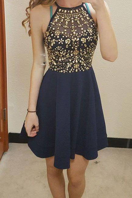 Navy Blue Homecoming Dress,Homecoming Dresses,Chiffon Homecoming Dresses,Beading Homecoming Dresses,Short Homecoming Dresses,Cute Dresses DR0149