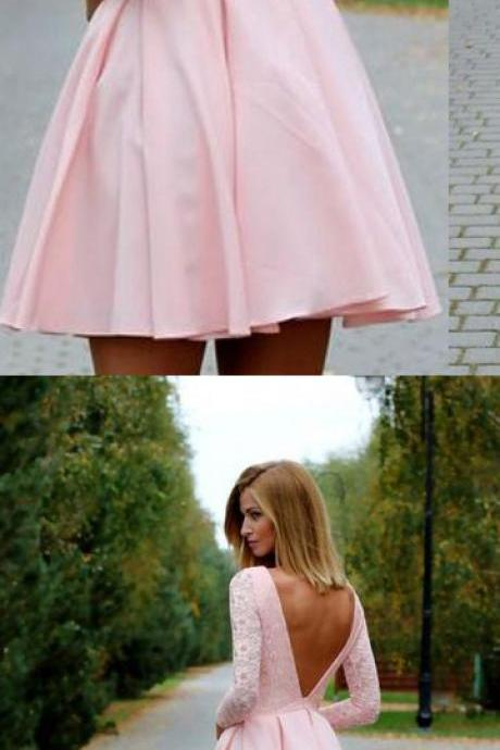 Short Prom Dresses,Long Sleeves Homecoming Dresses,Pink Homecoming Dresses,Backless Homecoming Dress,Lace Homecoming Dresses,Pretty Cocktail Dresses,Graduation Dresses,Homecoming Dresses,Short Homecoming Dresses,Party Dresses DR0265