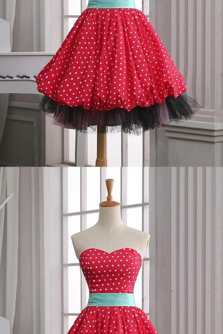 Red Homecoming Dresses,Polka Dots Homecoming Dresses,Short Homecoming Dress,Sweetheart Homecoming Dress,Homecoming Dress,Cute Dresses,Cocktail Dresses,Graduation Dresses,Short Homecoming Dresses DR0266
