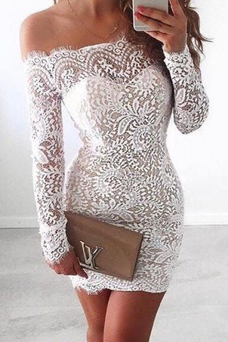Homecoming Dresses,Homecoming Dresses With Sleeves,Mermaid Lace Homecoming Dress,Modest Homecoming Dresses DR0332