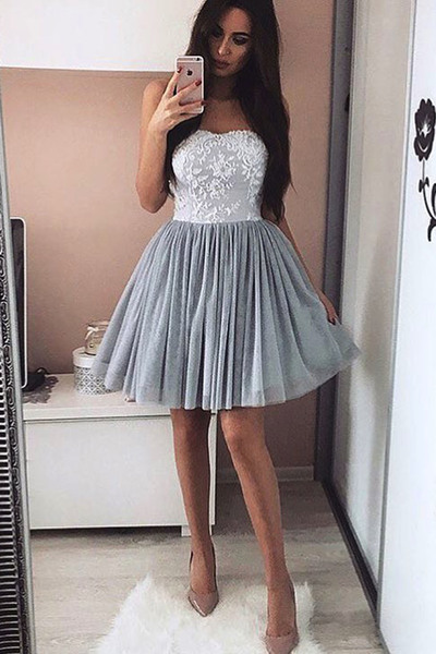 Sweetheart Homecoming Dresses,Gray Homecoming Dresses,A-line Homecoming Dresses,Simple Cheap Homecoming Dresses DR0377