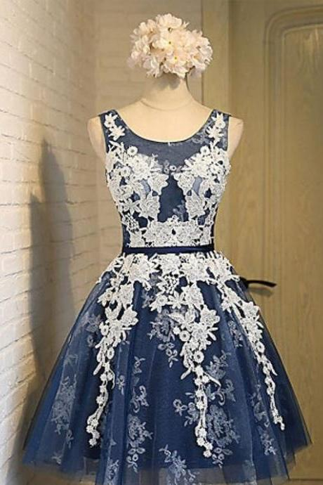 Lace Up Homecoming Dresses,Cute Dresses,Short Homecoming Dresses,A-line Lace Tulle Homecoming Dresses DR0386