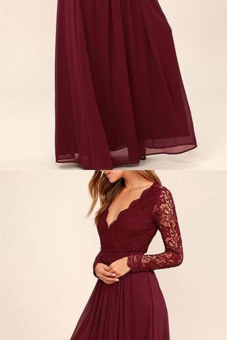 Burgundy Red Custom Made V-Neckline Lace Long Sleeve Floor Length Bridesmaid Dress