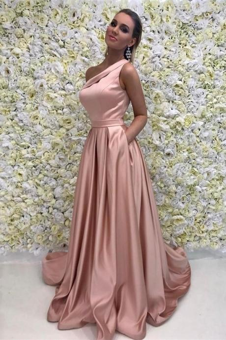 Pink Prom Dresses,One Shoulder Prom Dresses,Simple Prom Dress,Cheap Prom Dress,Long Prom Dresses For Teens,Wedding Party Dresses,A-line Eveing Dresses DR0432