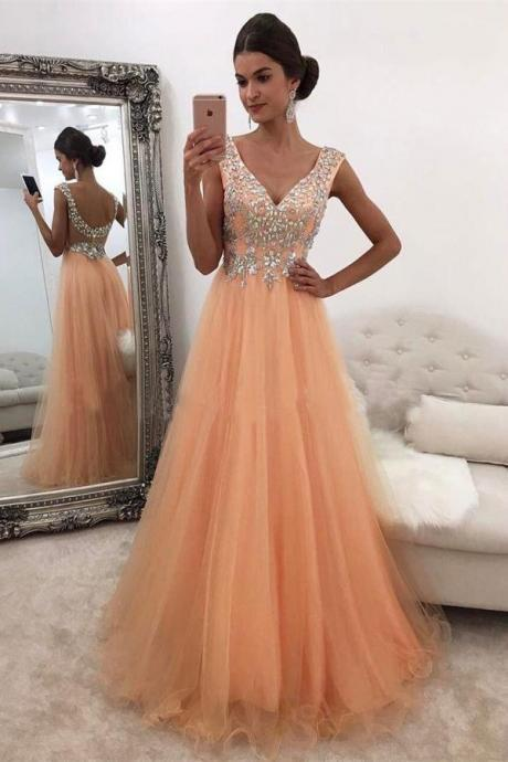 Orange Prom Dresses,V-neck Prom Dresses,A-line Beading Prom Dress,Prom Dresses For Teens,Long Prom Dresses,Party Dresses,Modeat Prom Dresses Evening Dresses DR0434