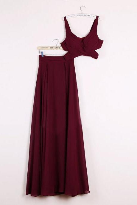 2 Pieces Long Simple Flowy Chiffon V-neck Prom Dresses,Graduation Dresses DR0512
