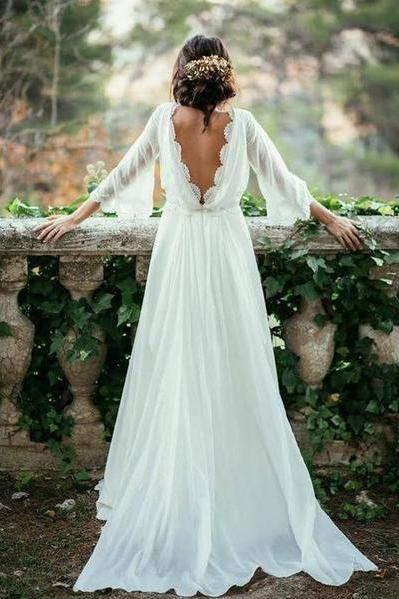 Charming Ivory Chiffon Lace Long Beach Wedding Dresses,Elegant Prom Dresses DR0532