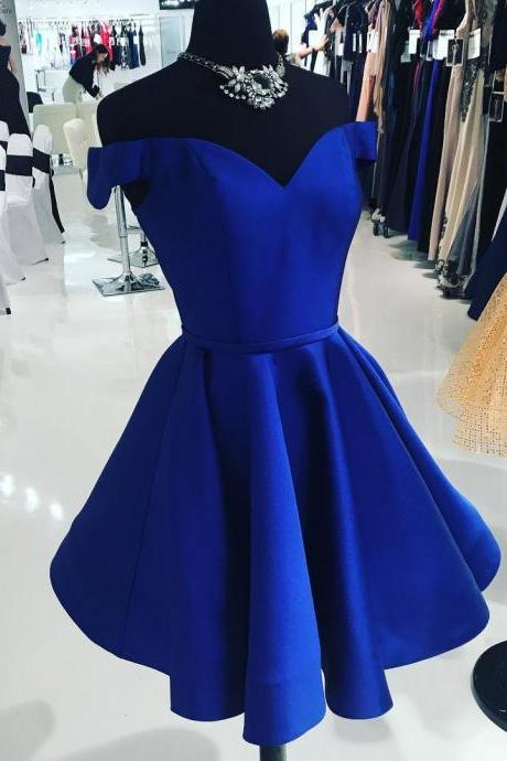 A Line Off the Shoulder V Neck Homecoming Dresses,Cheap Royal Blue Short Prom Dresses,Knee Length Taffeta Cocktail Dresses,Homecoming Dresses DC07