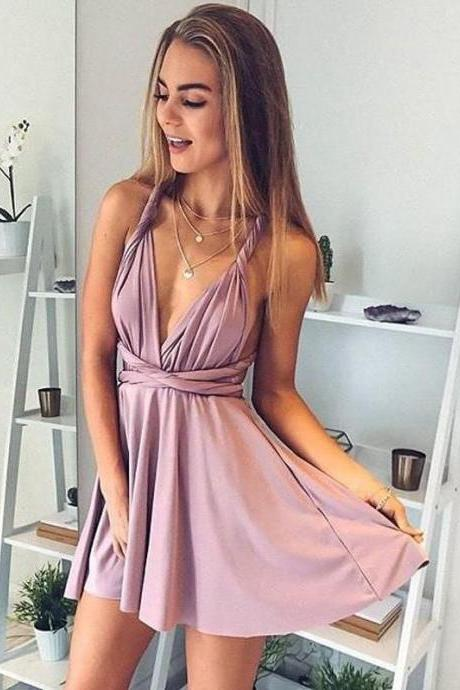 Cheap Slate Blue Deep V Neck Convertible Dusty Rose Homecoming Dresses,V Neck Mini Above Knee Cocktail Dress,Homecoming Dresses DC09
