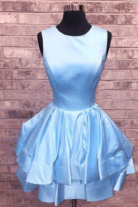 Cute Short Prom Dresses,Baby Blue Satin Homecoming Dress,Ruffle High Neck Homecoming Dresses,Sleeveless Mini Dress For Party,Homecoming Dresses DC45