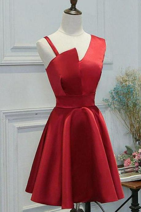 Elegant A Line Short Prom Dresses,Simple Satin Homecoming Dress,Red Homecoming Dresses,Short Cheap Homecoming Dress,Homecoming Dresses DC46