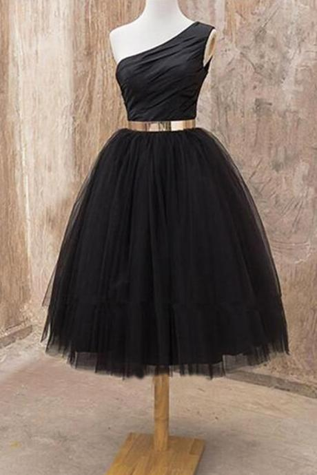 Cute A Line One Shoulder Black Tulle Short Homecoming Dresses with Metal Belt, Formal Short Prom Dresses,Homecoming Dresses DC58