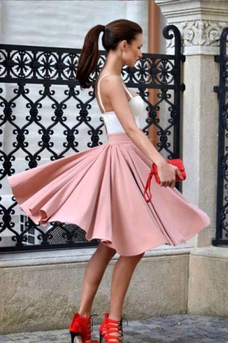 Cute A-Line Spaghetti Straps Homecoming Dresses,Knee Length Blush Homecoming Dress with Pleats,Satin School Dresses,Homecoming Dresses DC72