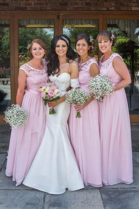 Pink Plus Size Bridesmaid Dresses,Lace Top Chiffon Long Bridesmaid Dress,Scoop Lace Appliques Chiffon Long Prom Dresses,Bridesmaid Dresses DC76