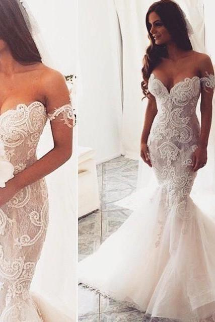 Mermaid Sweetheart Wedding Dresses,Off the Shoulder Tulle Bridal Dresses,Lace Appliques Ivory Wedding Dresses,Wedding Dresses DC100