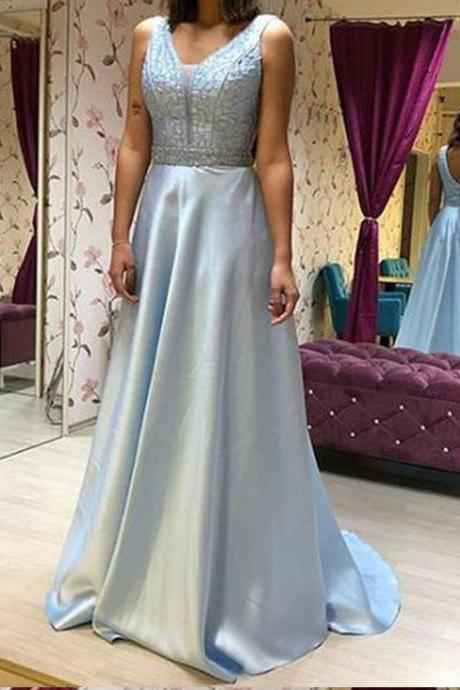 A line Blue Backless Satin Prom Dresses,V Neck Long Beads Evening Dresses,Prom Dresses DC114