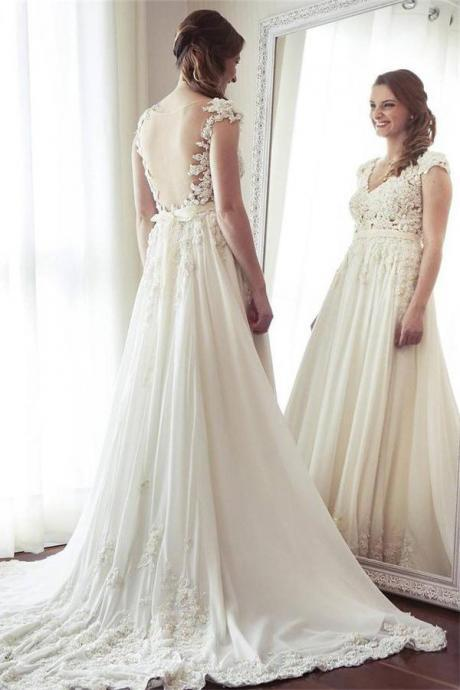Charming Long Ivory Lace Chiffon Bridal Dresses,V-neck Elegant Beach Wedding Dresses,Cap Sleeve V Neck Wedding Dresses,Wedding Dresses DC139