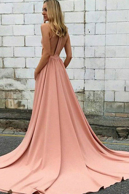 Elegant Simple Prom Dresses,A line Halter Satin Pink Sleeveless Pockets Party Dresses,Prom Dresses DC147