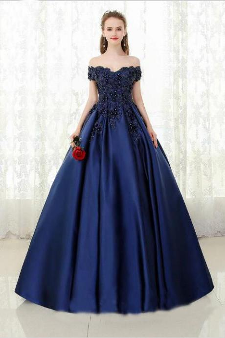 Ball Gown Navy Blue Prom Dresses,Off the Shoulder Beads Quinceanera Dresses,Satin Sweetheart Floor Length Party Dresses,Prom Dresses DC154
