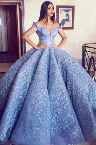 Blue Lace Off the Shoulder Ball Gown Quinceanera Dresses,Princess Prom Dress,V Neck Lace Appliques Party Dresses,Prom Dresses DC179