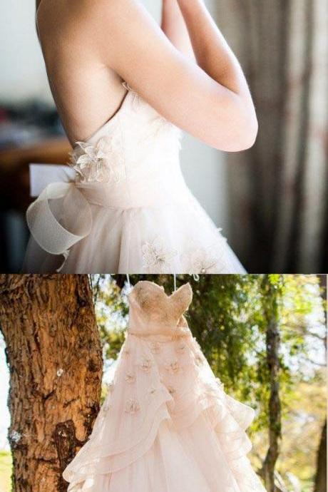 Beautiful Wedding Dresses,A line Sweetheart Hand-Made Flower Chic Bridal Gown,Backless Strapless Prom Dresses,Prom Dresses DC184