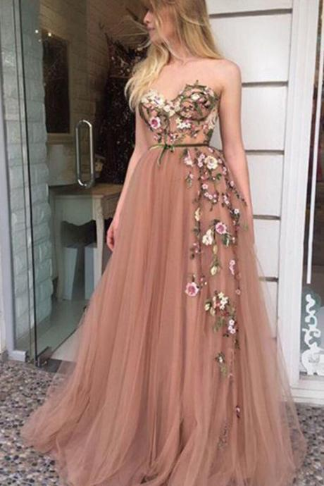 Strapless Sleeveless Beautiful Prom Dresses,A-line Sweetheart Embroidery Prom Dress,Long Evening Dress,Prom Dresses DC186