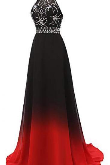 Halter Gradient Chiffon Prom Dresses,Long Ombre Beads Party Dresses,Black And Red Lace up Evening Dresses,Prom Dresses DC193