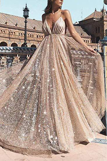 Deep V Neck Prom Dresses,Long Backless Tulle Formal Evening Gown,Beads Gold Party Dresses,Prom Dresses DC198