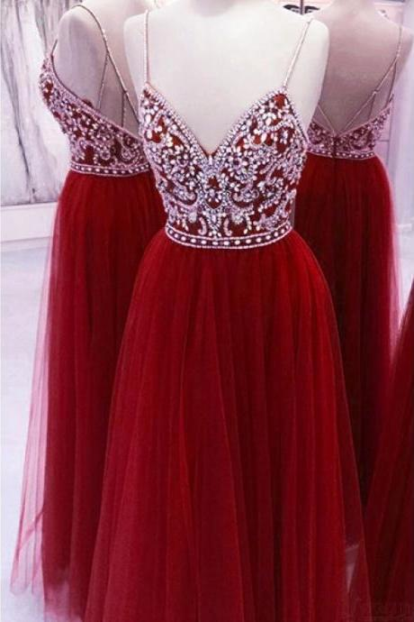 A line Red V Neck Spaghetti Straps Prom Dresses, Backless Tulle Evening Dresses, Beads Long Cheap Formal Dresses DC279
