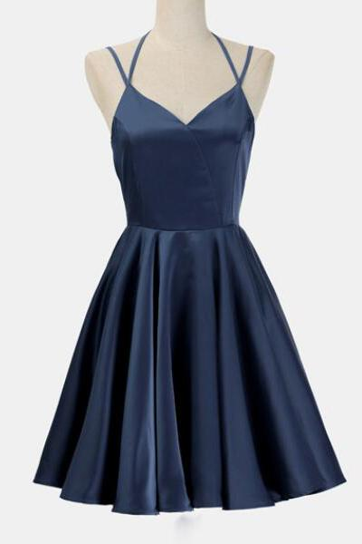 A Line Dark Blue Homecoming Dresses, Satin V Neck Short Prom Dresses, Sleeveless Backless Cocktail Dresses, Homecoming Dresses DC302