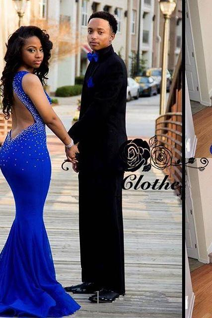 Real Sexy Prom Dresses,Royal Blue Prom Dress,Beaded Evening Dresses,Backless Prom Gowns,Mermaid Evening Gowns,Party Prom Dresses,Prom Dresses 2016