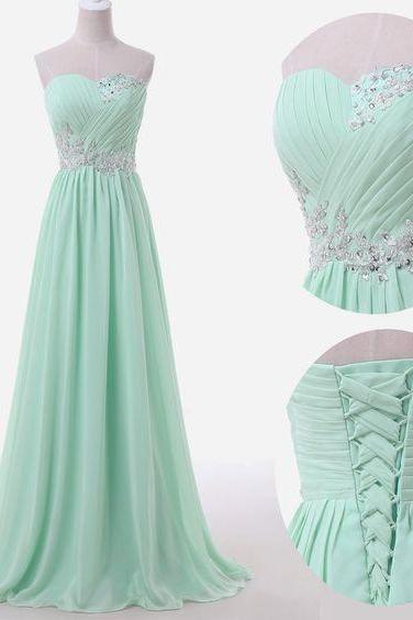 Bridesmaid Dresses, Top Selling Elegant Mint Prom Dresses,Back Up Lace Long Evening Dresses,Formal Sweetheart Prom Gowns,Beaded Lace Graduation Dresses
