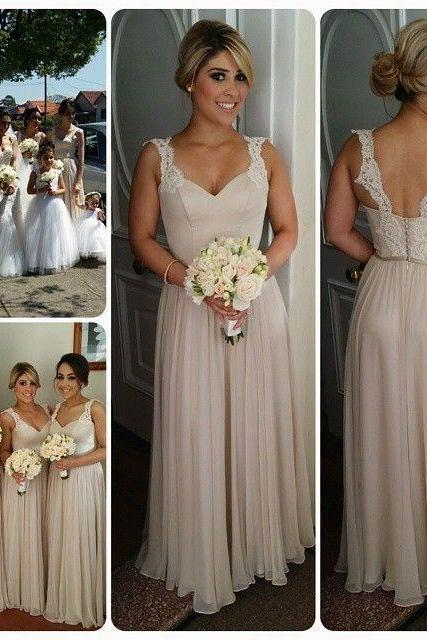 Simple Lace Backless Long Bridesmaid Dresses,Cheap Chiffon Bridesmaid Gowns,A-line Modest Prom Dresses,Beautiful Bridesmaids Dresses 2016