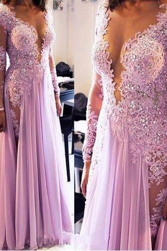 2016 Long Sleeves Lace Beaded Prom Dresses,Beautiful Prom Dresses,Long Evening Dresses,Modest Prom Gowns For Teens