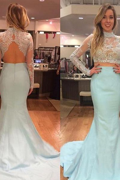 Light Blue Long Mermid Lace Prom Dresses,Two Pieces Backless Evening Dresses,Beautiful Evening Dresses For Teens