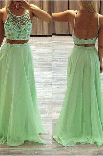 2016 Spaghetti Straps Two Pieces Long Prom Dresses,Evening Dresses,Backless Party Dresses,Beautiful Dresses For Teens