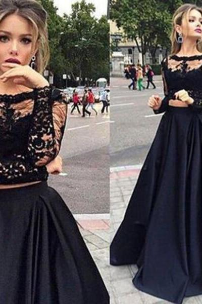 Newest Long Sleeves Black Lace Prom Dresses For Teens,Charming Evening Dresses,Two Pieces Party Prom Dress DR0461