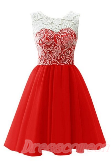 2016 Simple Lace Short Prom Dresses,Cheap Prom Dresses,Red Cocktail Dresses For Teens